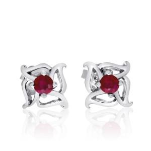 14K White Gold Precious 3 mm Ruby Fashion Flower Earring studs