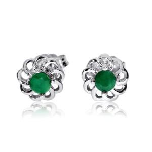 14K White Gold Precious 3 mm Emerald Fashion Swirl Earring studs