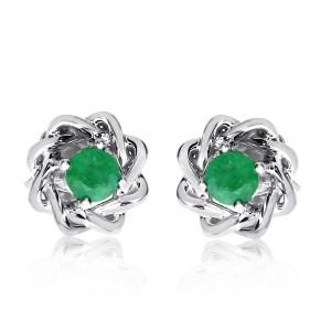 14K White Gold Precious 3 mm Emerald Fashion Earring studs