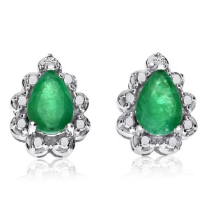 14K White Gold Precious 6x4 Pear Shape Emerald and Diamond Earrings