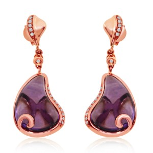 14K Rose Gold large Pear Shape Amethyst with Diamonds Semi Precious Fashion Earr