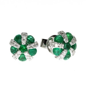 14K White Gold Precious Emerald and Diamond Ball Fashion Earrings