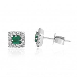 14K White Gold Princess Emerald and Diamonds Precious Fashion Earrings