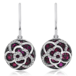 14K White Gold Precious Ruby and Diamond Round Dangle Earrings