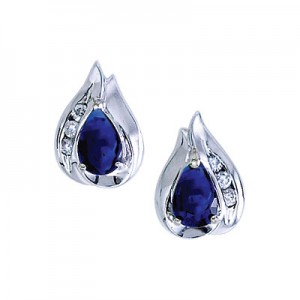 14K White Gold 6x4 Pear Sapphire and Diamond Precious Earrings