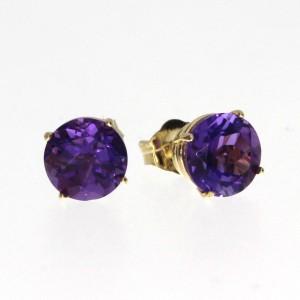 14K Yellow Gold 6mm Amethyst Basket Set Semi precious Earrings