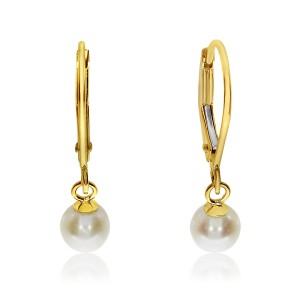 14K Yellow Gold 5mm Pearl Drop Dangle Earrings
