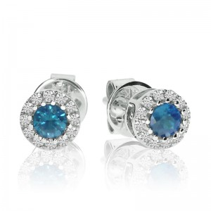 14K White Gold Round Blue Topaz and Diamond Semi Precious Fashion Earrings