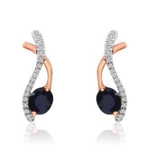 14K Rose and White Gold Oval Sapphire and Diamond Crossover Earrings