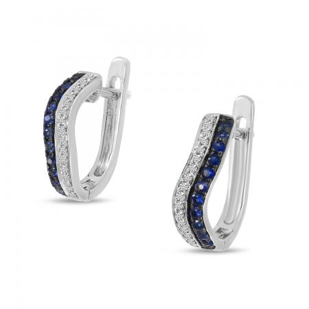 14K White Gold Diamond & Sapphire Wave Earrings