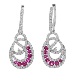 14K White Gold Round Ruby and .86 Ct Diamond Precious Hoop Dangle Earrings