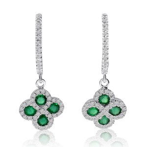 14K White Gold Precious Emerald and Diamond Dangle Clover Hoop Earrings
