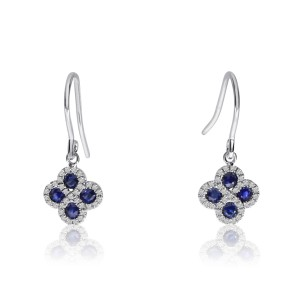 14K White Gold Precious Sapphire and Diamond Clover Drop Earrings on Kidney Wire
