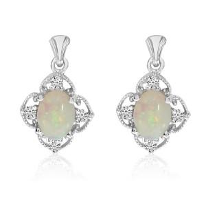 14K White Gold Oval Opal and Diamond Dangle fashion Earrings