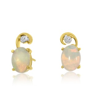 14K Yellow Gold Oval Opal and Diamond Swirl fashion Earrings