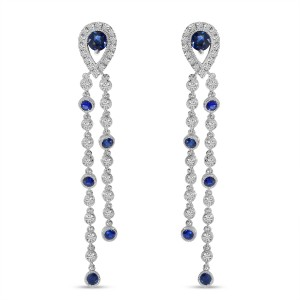 14K White Gold Diamond and Sapphire Long Pear dangle Earrings