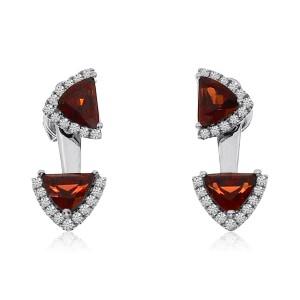 14K White Gold Double Trillion Garnet and Diamond Backset Semi Precious Fashion