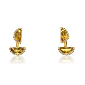 14K Yellow Gold Double Half moon Citrine Semi Precious Fashion Earrings