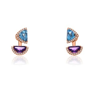 14K Rose Gold Half moon Amethyst and Trillion Blue Topaz Semi Precious Fashion Earrings