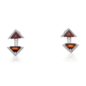 14K White Gold Double Octagon Garnet and Diamond Semi Precious Triangle Fashion