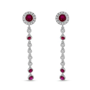 14K White Gold Ruby and Diamond Precious Filigree Long Dangle Earrings