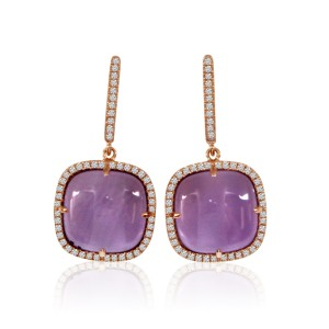14K Rose Gold 12mm Cabochon Cushion Amethyst and Diamond Fashion Drop Earrings