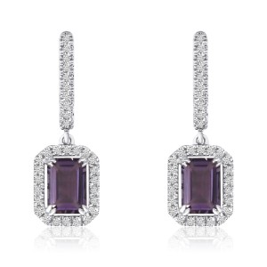 14K White Gold Octagon Amethyst and Diamond semi Precious Drop Earrings