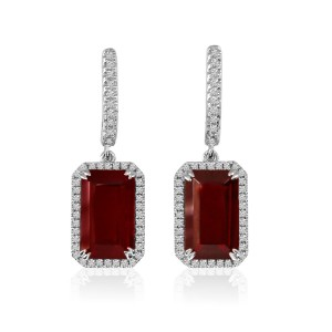 14K White Gold Large Octagon Garnet and Diamond Semi Precious Drop Earrings