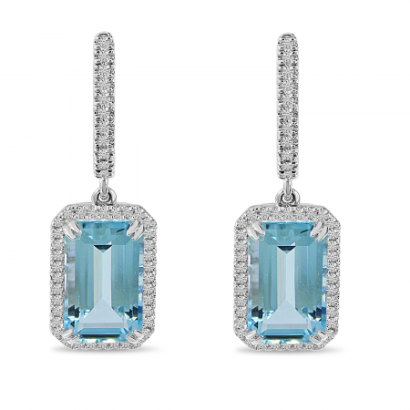 14K White Gold Large Octagon Blue Topaz and Diamond Semi Precious Drop Earrings