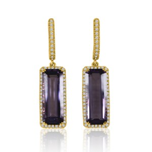 14k Yellow Gold 15x6 Long Octagon Amethyst and Diamond Semi Precious Dangle Fash
