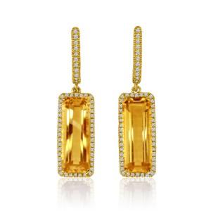 14k Yellow Gold 15x6 Long Octagon Citrine and Diamond Semi Precious Dangle Fashi