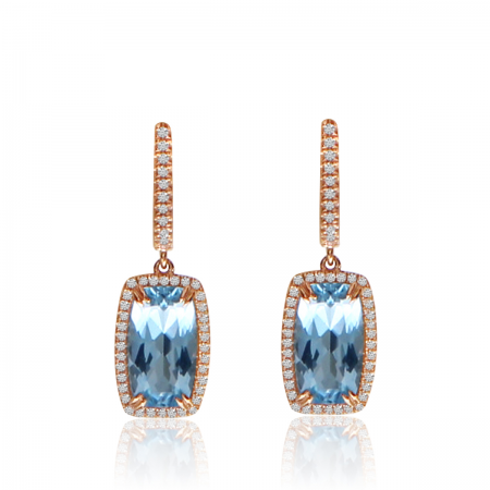 14K Rose Gold Cushion Octagon Blue Topaz and Diamond Dangle Semi Precious Earrings