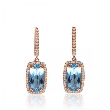 14K Rose Gold Cushion Octagon Blue Topaz and Diamond Dangle Semi Precious Earrings