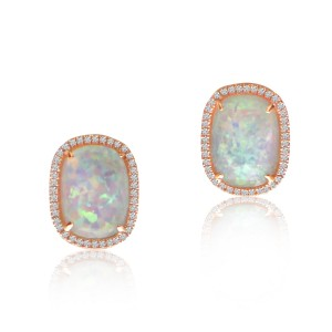 14K Rose Gold Oval Opal Doublet and Diamond Omega Back Fashion Earrings