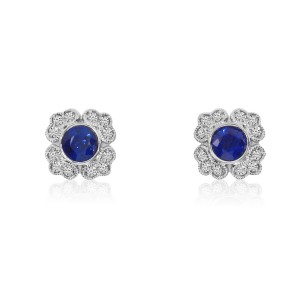 14K White Gold Round Sapphire and Diamond Filigree Precious Earrings