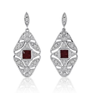 14K White Gold Princess Ruby and Diamond Filigree Precious Dangle Earrings