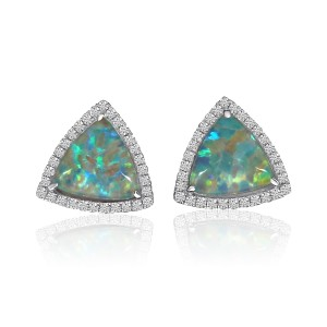 14K White Gold Trillion Opal Doublet and Diamond Fashion Earrings