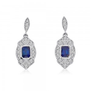 14K White Gold Emerald Cut Sapphire and Diamond Filigree Precious Earrings