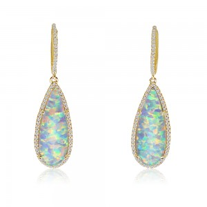 14K Yellow Gold Pear shape Opal Doublet and Diamond Fashion Dangle Earrings