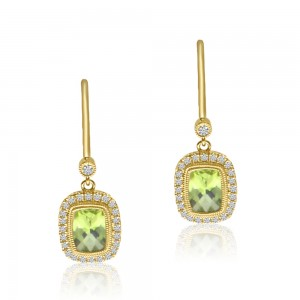 14K Yellow Gold Halo Cushion Peridot and Diamond Semi Precious Leverback Earring