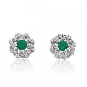 14K White Gold Round Emerald and Diamond Precious Floral Earrings