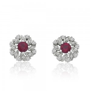 14K White Gold Round Ruby and Diamond Precious Floral Earrings