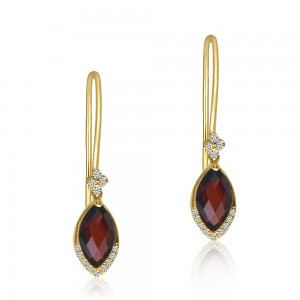 14K Yellow Gold Marquise Garnet and Diamond Semi Precious Hook Earrings