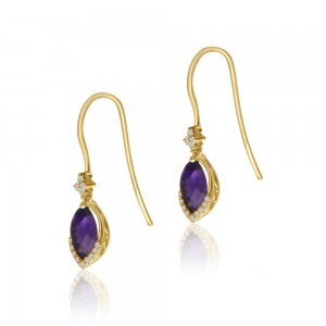 14K Yellow Gold Marquise Amethyst and Diamond Semi Precious Hook Earrings