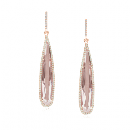 14K Rose Gold Elongated Pear White Topaz and Diamond Earrings