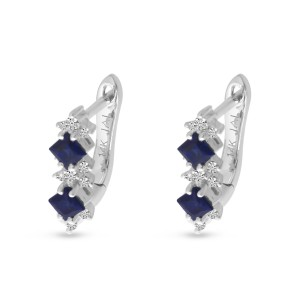 14K White Gold Precious Princess Sapphire and Diamond Huggie Earrings