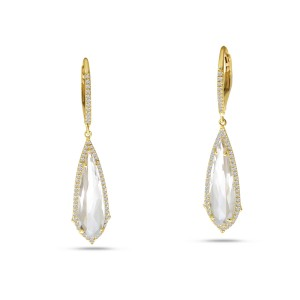 14K Yellow Gold Fancy Long White Topaz and Diamond Dangle Semi Precious Earrings