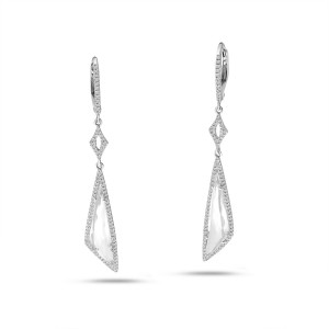 14K White Gold Fancy Long White Topaz and Diamond Dangle Semi Precious Earrings