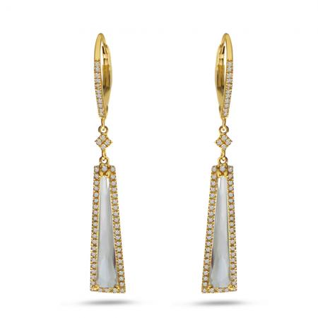 14K Yellow Gold Fancy White Topaz Long Dangle Earrings