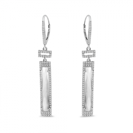 14K White Gold Fancy Cut White Topaz & Diamond Dangle Earrings